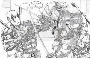 Deadpool vs. Deathstroke by jey2dworld