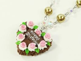 Heart Shape Rose Cake Necklace by SweetandCo
