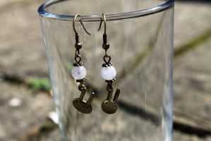 Antique Bunny Rabbit + Lavender Amethyst Earrings by Clerdy