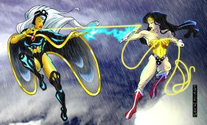 Wonder Woman vs Storm by FeiLongEX