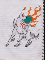 Okami Amaterasu Sketch Colored by DancingDragoness
