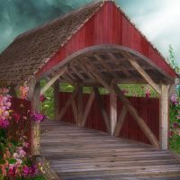 Covered Bridge by oldhippieart