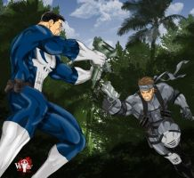 Punisher-VS-Solid Snake by WiL-Woods