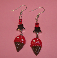 Earrings Cherry Ice cream by PookieTookieJewelry