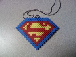 Perler Superman necklace by FatalJapan