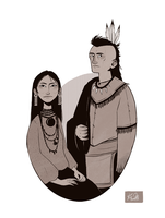 Apache woman and Mohawk man by Nibilondiel