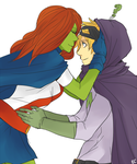 Miss Martian and Mysterion by deviant-ART-lover