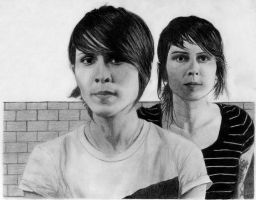 Sara and Tegan sketch by beckenslobber