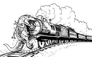 T-rex on the Tracks by spohniscool