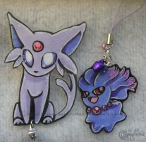 Espeon and Misdreavus commish by RonTheWolf