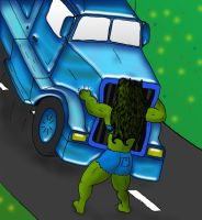 She-Hulk lifts a truck by ElsieGuen