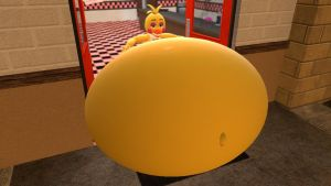Toy Chica stuck in the pizzaria by legoben2