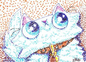 funny cat is in pointillism by KingZoidLord
