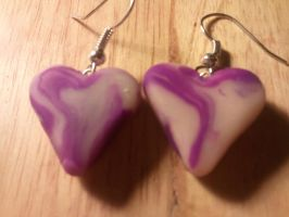 Purple Swirl Heart Earrings by UntouchedRayne