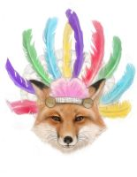 Fox in a Headdress by ohmindflowers