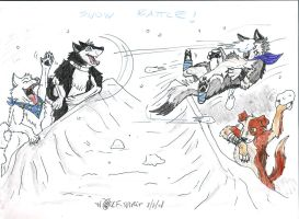 Snow Battle_wolves play by Wolf-Spirit89