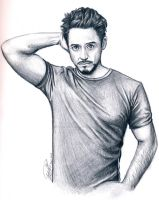 Robert Downey Jr. Pencil Drawing by BreathlessDragon
