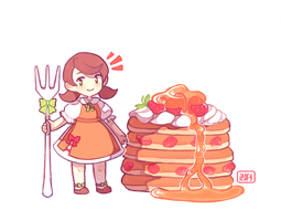 Sweet Strawberry Pancakes by ieafy