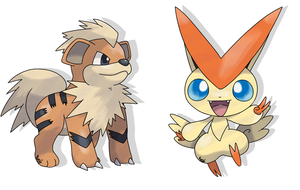 Growlithe and Victini - Sugimori- by RocketHaruka