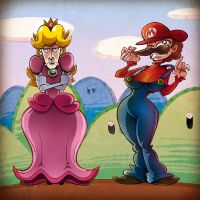 Super Marion and Prince Peacho by albonet