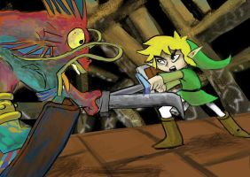 Link fights a seamonster by Chevic