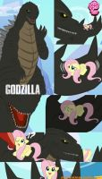 fluttershy meet godzilla 2014 by mayozilla