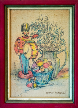 Tin Soldier with Silver Vase and Xmas Ornaments by EstherMcGraw