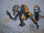 cyborg on a wall by tombmx
