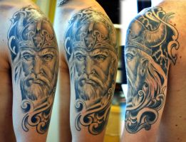 Viking half sleeve healed by gettattoo