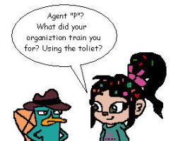 Agent P and Vanellope by RocketSonic