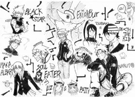 Soul Eater and Naruto doodles by DeviantMidget