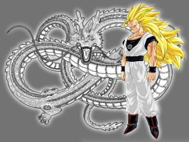 White Lantern SS3 Goku With Shenron Avatar by Lord-Lycan