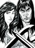 RedSonja and Conan Der Barbarian by MonsterSaw