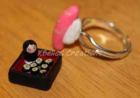 Tiny Sushi Ring and Charm by KBelleC