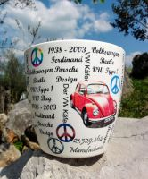 Flower pot, VW red beetle by naraosart