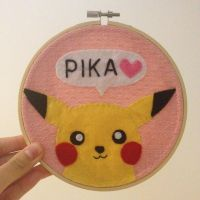 Pikachu Embroidery Hoop by cloudy-days95