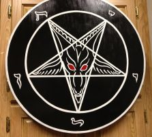Sigil of Baphomet black and white red eyes by SigilofSulfer