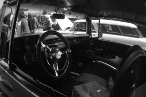 Seal Beach Car Show InteriorBW by xliredbaron02