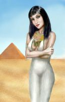 egyptian girl and pyramid by dashinvaine