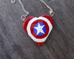 Captain America's Sheild Heart Necklace by geeekalicious
