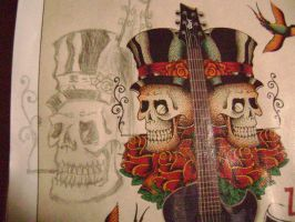 another sketch drawing 3 skulls by carriefawnsmom