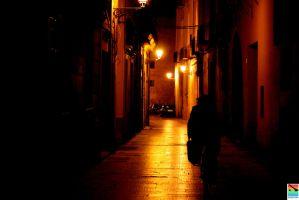 lonely lane at night by mominomi