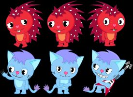 Flaky and Fresko drawings by GoneIn10Seconds