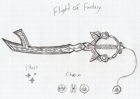 Flight of Fantasy keyblade (giftart for Nyaasu) by HaroldPotter
