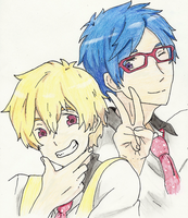 The Butterfly and the Penguin: Rei and Nagisa by aa5tidus