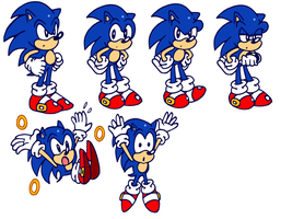 Retro Sonic Poses by JamesmanTheRegenold