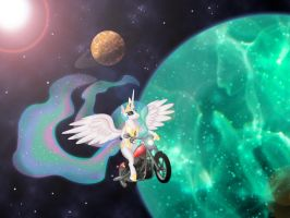 Celestia on motorcycle in space by MrDouche89