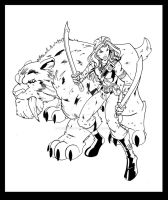 Fantasy Hunter n Sabertooth Tiger mount by wonderfully-twisted