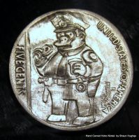 Chief Wiggum Simpsons Carved Coin Hobo Nickel by shaun750