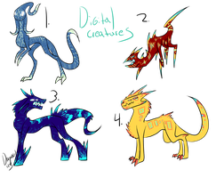 Digital Creatures Adopts 7 CLOSED by DragonGirl1213